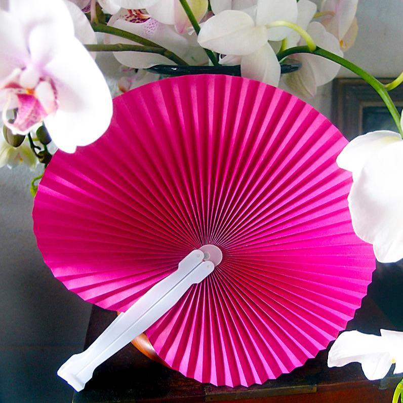 "CLOSEOUT 9"" Fuchsia / Hot Pink Accordion Paper Hand Fan for Weddings (10 Pack) - Luna Bazaar 