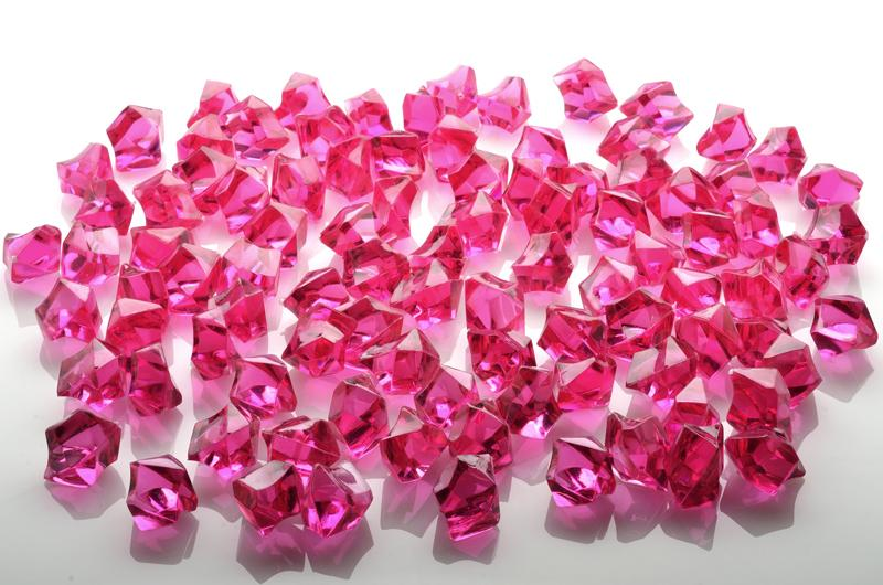 CLOSEOUT Fuchsia Gemstones Acrylic Crystal Wedding Table Scatter Confetti Vase Filler (3/4 lb Bag) - Luna Bazaar - Discover. Decorate. Celebrate