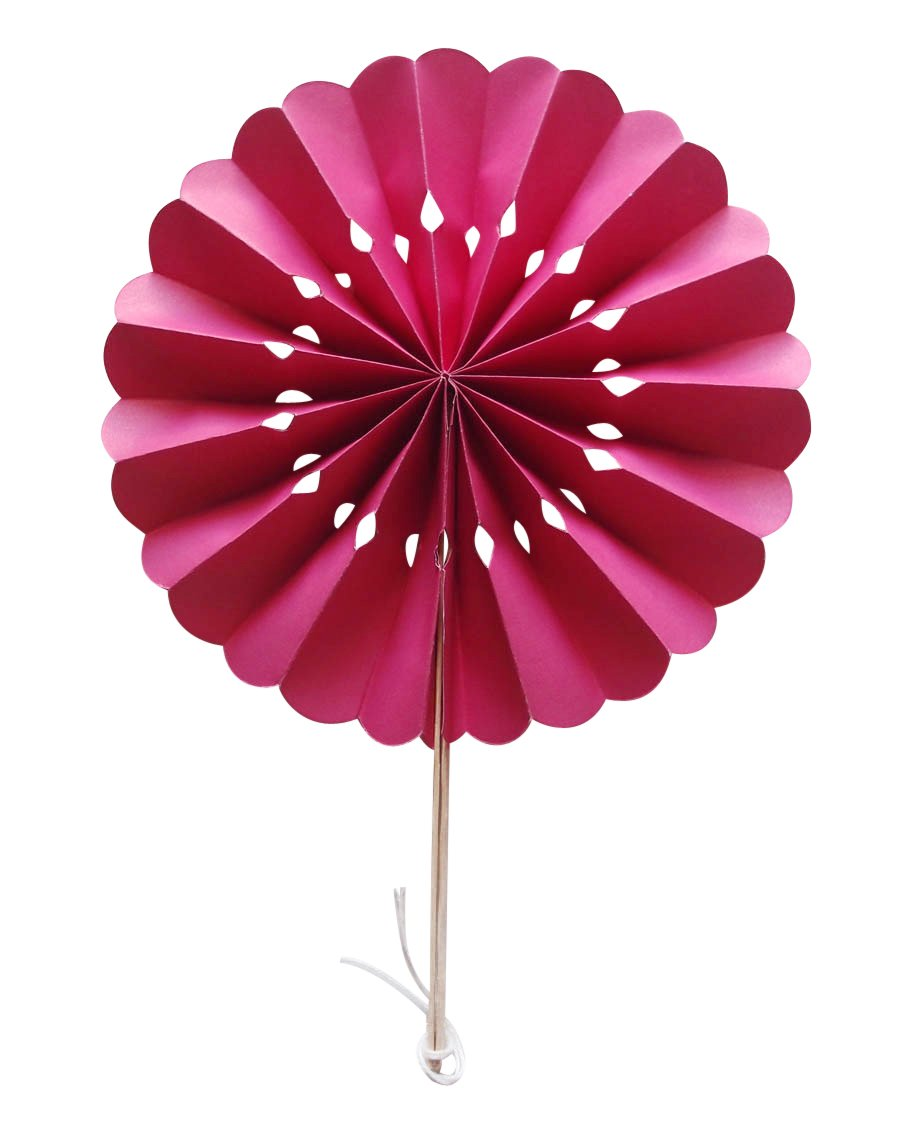 "CLOSEOUT 8"" Fuchsia / Hot Pink Pinwheel Paper Hand Fans for Weddings (10 Pack) - Luna Bazaar 