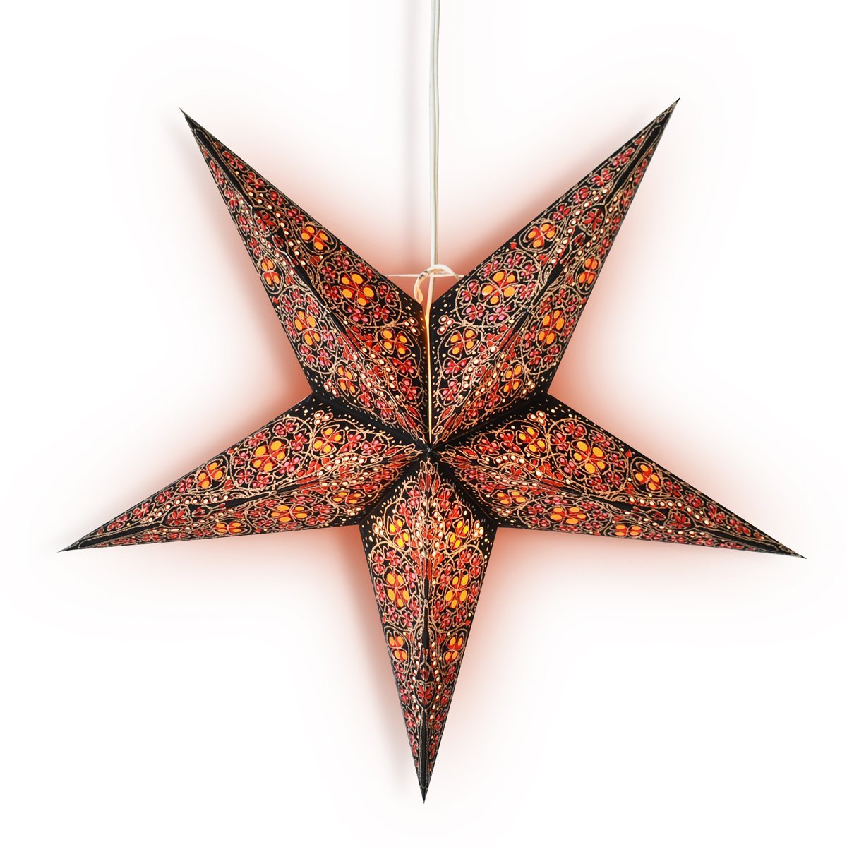 "3-PACK + Cord  24"" Red Garden Paper Star Lantern and Lamp Cord Hanging Decoration - Luna Bazaar 
