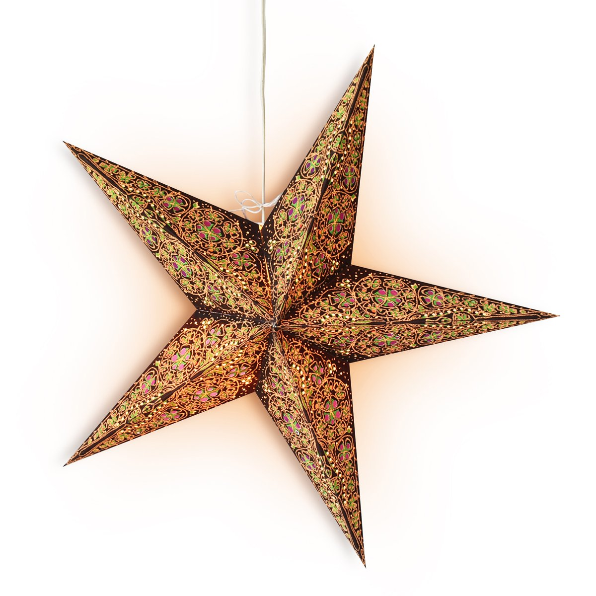 "24"" Brown / Gold Garden Paper Star Lantern, Hanging Wedding & Party Decoration - Luna Bazaar 