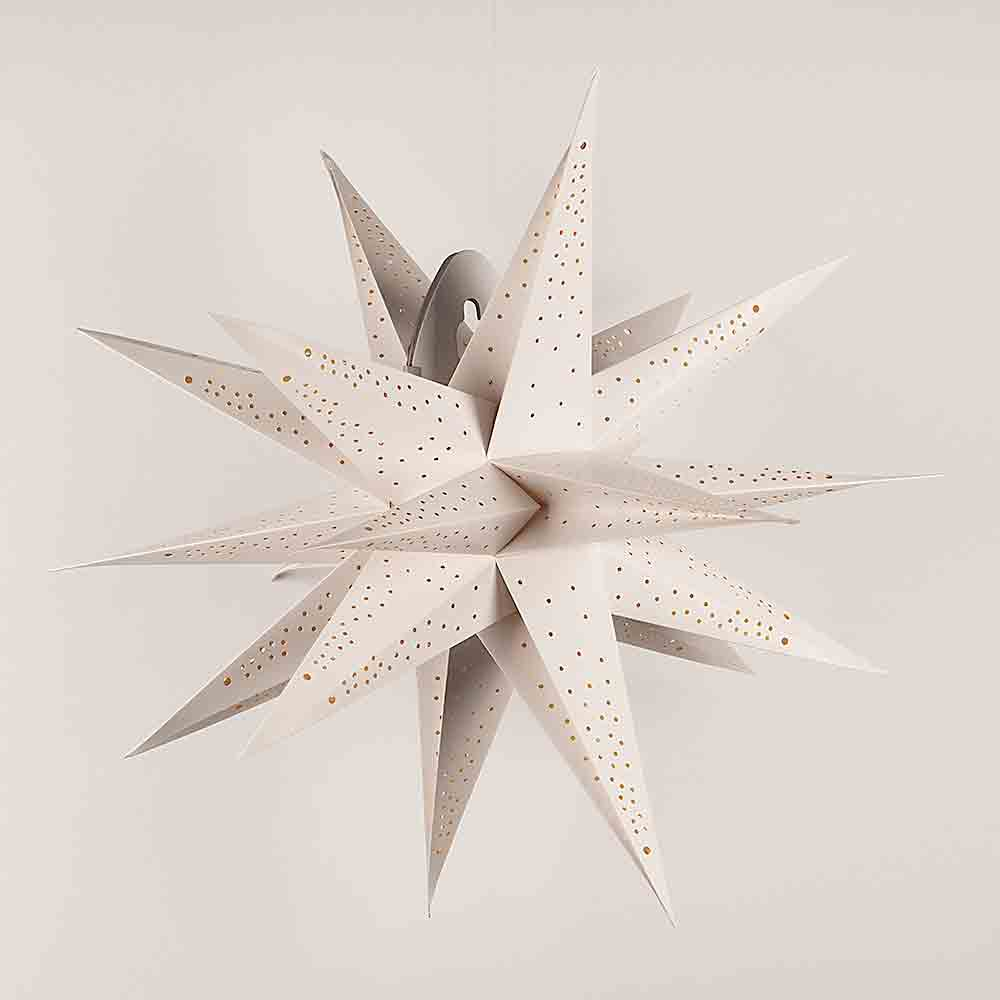"24"" White Moravian Cut-Out Multi-Point Paper Star Lantern Lamp, Chinese Hanging Wedding & Party Decoration - Luna Bazaar 