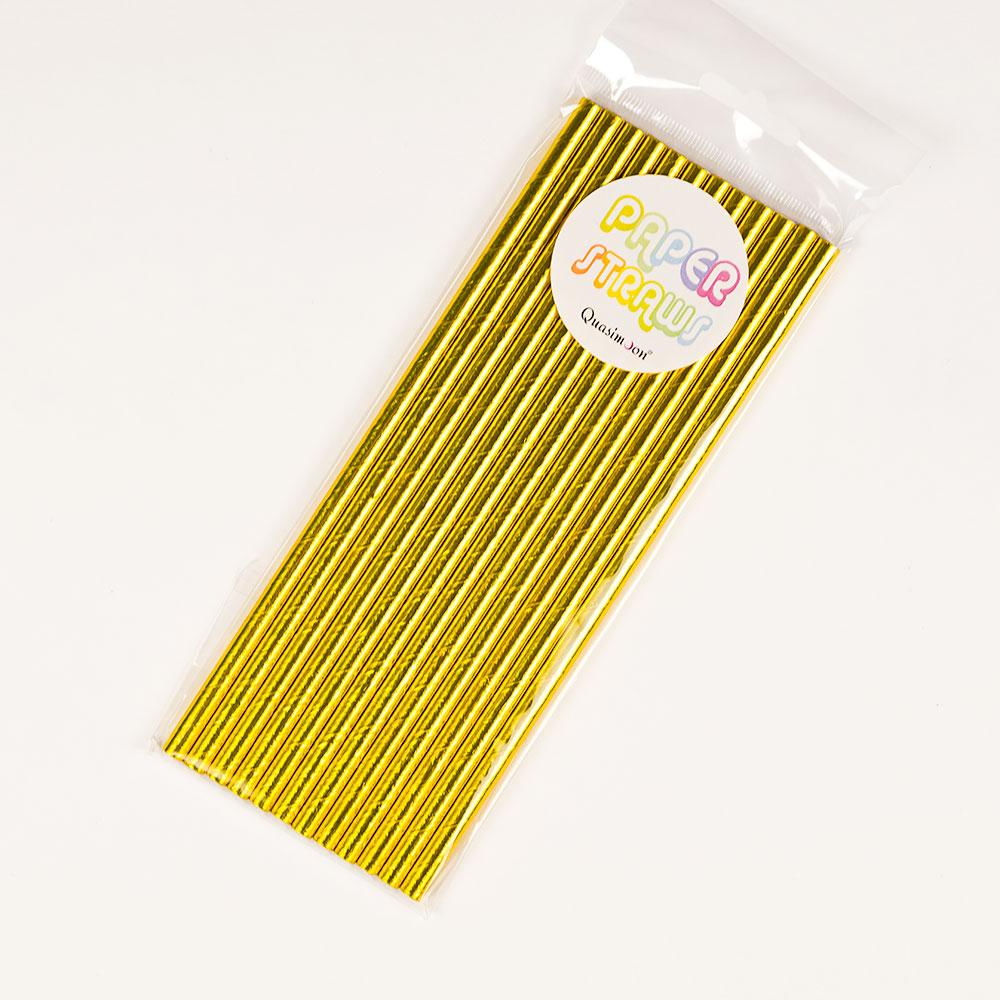 CLOSEOUT Gold Metallic Paper Straws for Parties, Solid Color (12-Pack) - Luna Bazaar | Boho & Vintage Style Decor