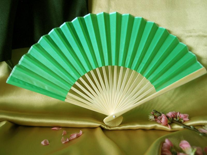 "CLOSEOUT 9"" Grass Greenery Silk Hand Fans for Weddings (10 Pack) - Luna Bazaar 