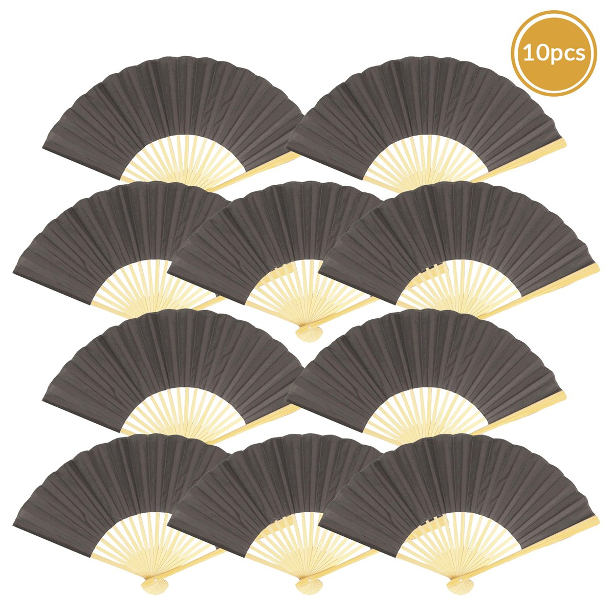 "9"" Gray / Grey Silk Hand Fans for Weddings (10 Pack) - Luna Bazaar 