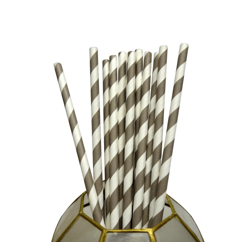 CLOSEOUT Gray Striped Patterned Party Paper Straws (12 PACK) - Luna Bazaar | Boho & Vintage Style Decor