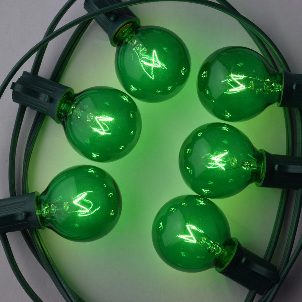 25 Socket Holiday Outdoor Patio String Light Set, G40 Green Globe Bulbs, 28 FT Black Cord - Luna Bazaar - Discover. Decorate. Celebrate