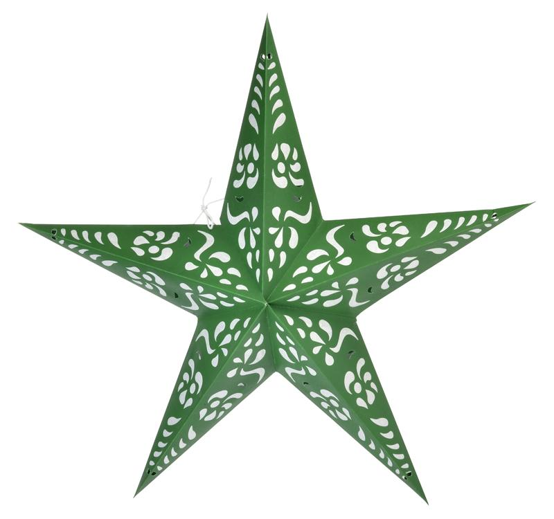 "24"" Green Punch Paper Star Lantern, Chinese Hanging Wedding & Party Decoration - Luna Bazaar 