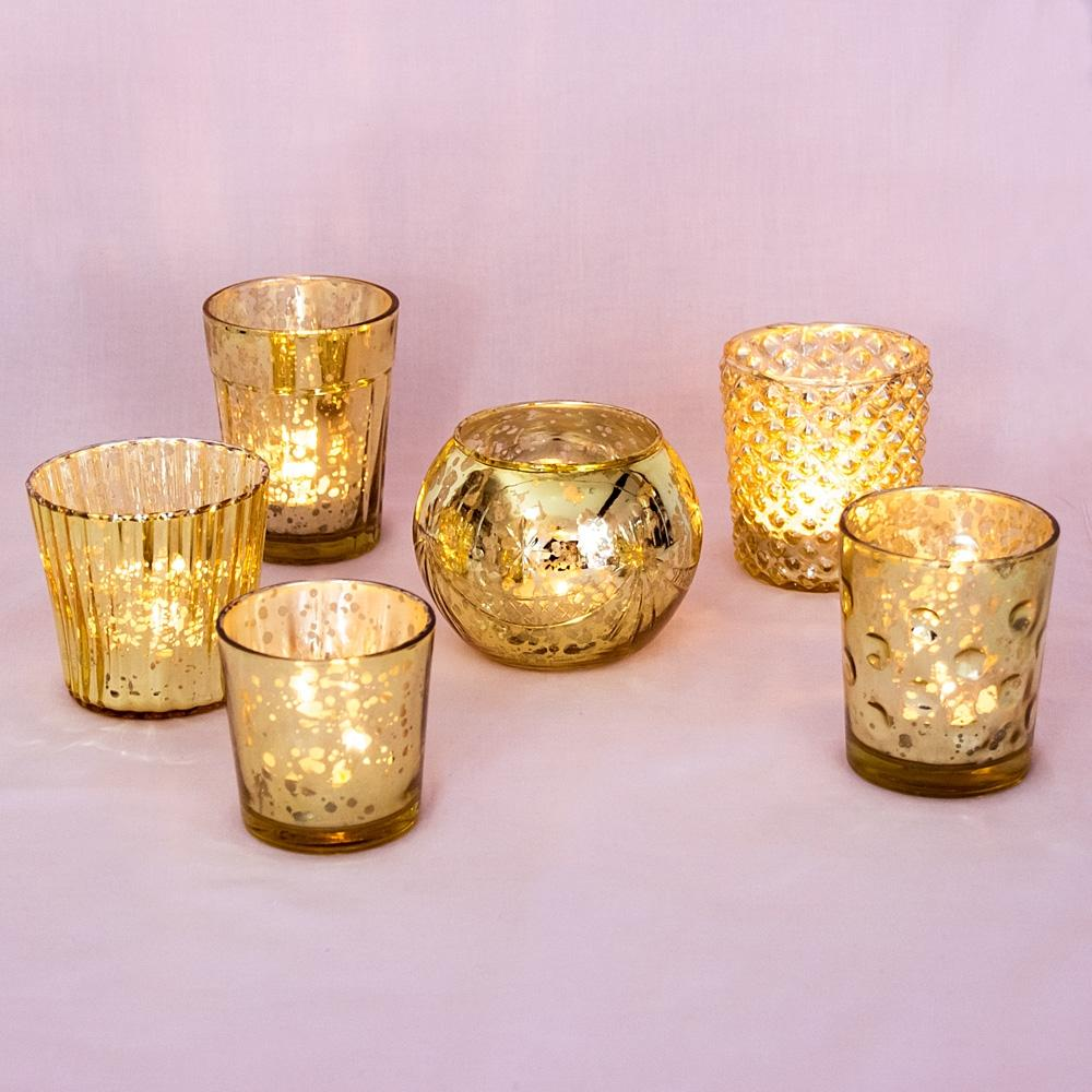 Best Of Show Vintage Mercury Glass Votive Tea Light Candle Holders Gold 6 Pack Assorted Designs Mercury Glass Candle Holders Luna Bazaar Boho Vintage Style Decor