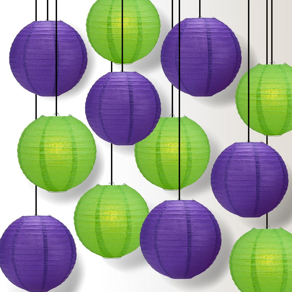 Halloween 12-Piece Purple / Green Paper Lantern Party Pack Set, Assorted Hanging Decoration - Luna Bazaar | Boho & Vintage Style Decor