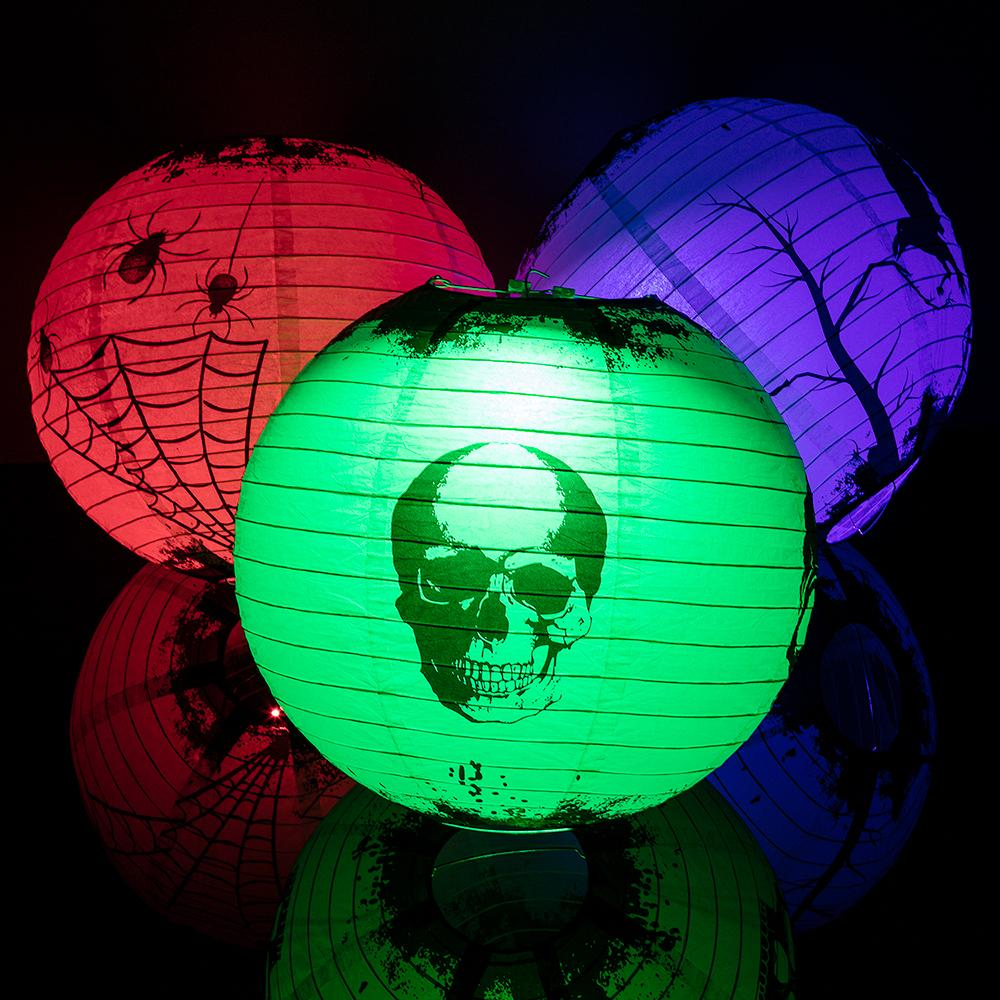 "14"" Halloween Scary Story Color Changing Paper Lanterns Lights w/ Remote (7-pc Party Pack) - Luna Bazaar - Discover. Decorate. Celebrate"