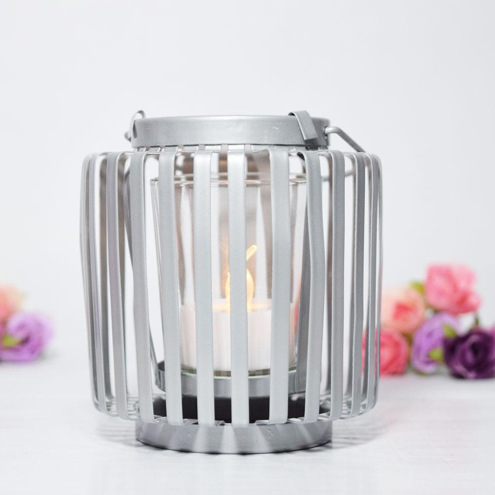 CLOSEOUT Hanging Cylinder Tealight Candle Lantern - Silver - Luna Bazaar - Discover. Decorate. Celebrate