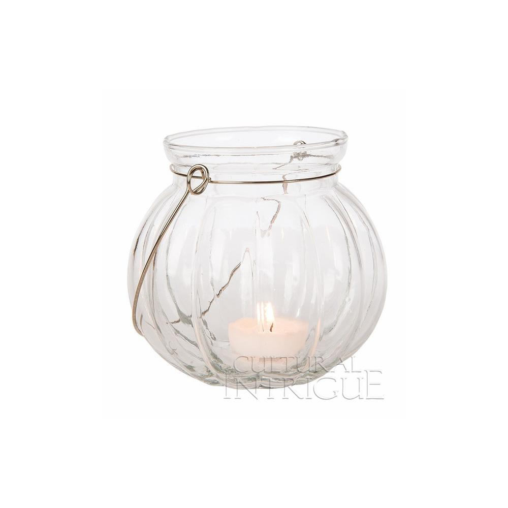 CLOSEOUT Hanging Jar Candle Holder (4-Inch, Clear, Lydia Pumpkin Design) - For Use with Tea Lights - For Home Decor, Parties, and Wedding Decorations - Luna Bazaar | Boho & Vintage Style Decor