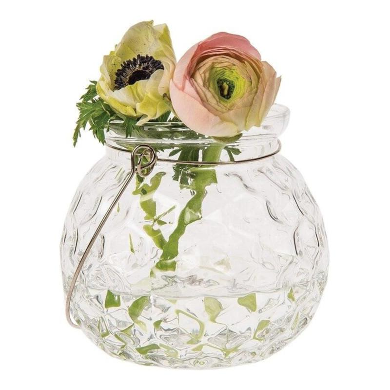 CLOSEOUT Hannah Clear Hanging Mason Jar Candle Holder and Vase - Luna Bazaar | Boho & Vintage Style Decor