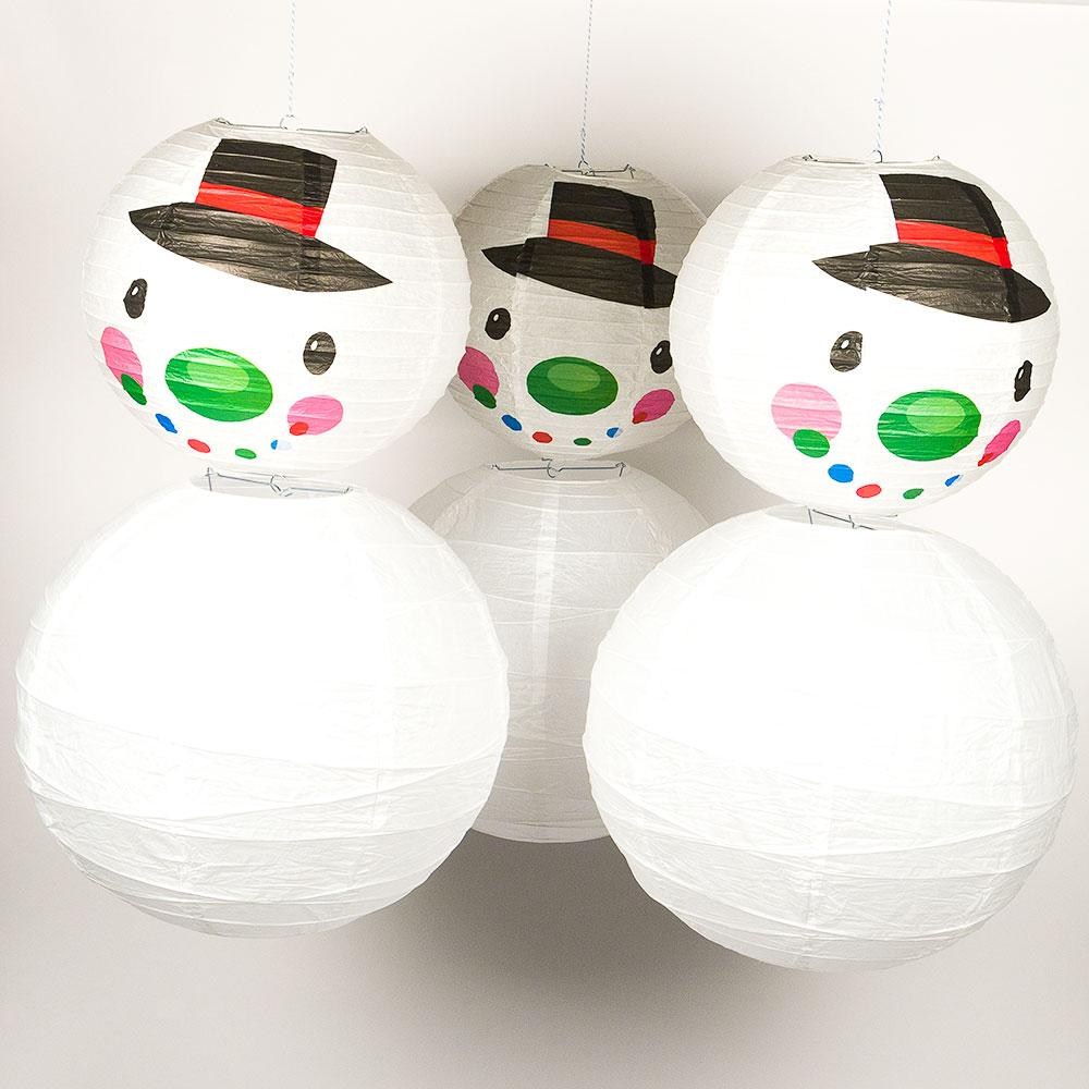 6-pc Frosty Snowman Holiday Christmas Party Pack Paper Lanterns Combo Set - Luna Bazaar | Boho & Vintage Style Decor