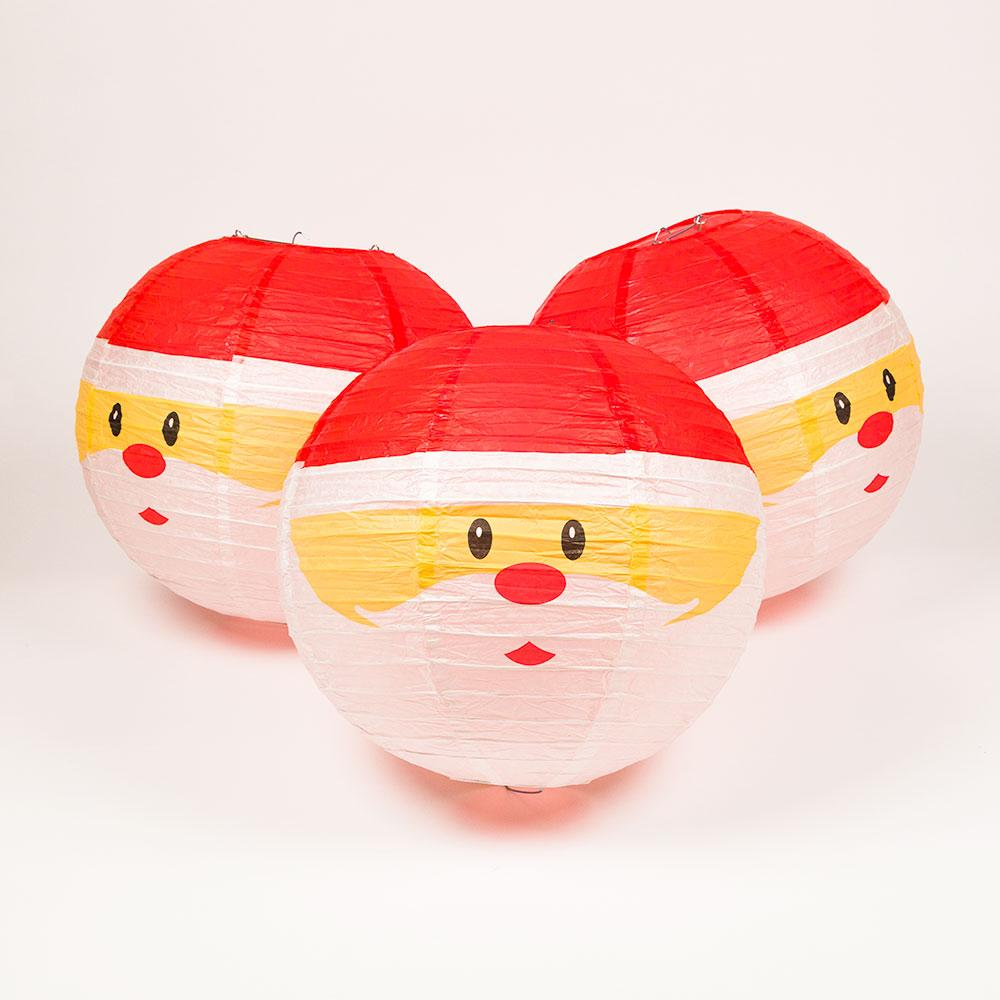 12-pc Santa Claus Holiday Christmas Party Pack Paper Lanterns Combo Set - Luna Bazaar - Discover. Decorate. Celebrate