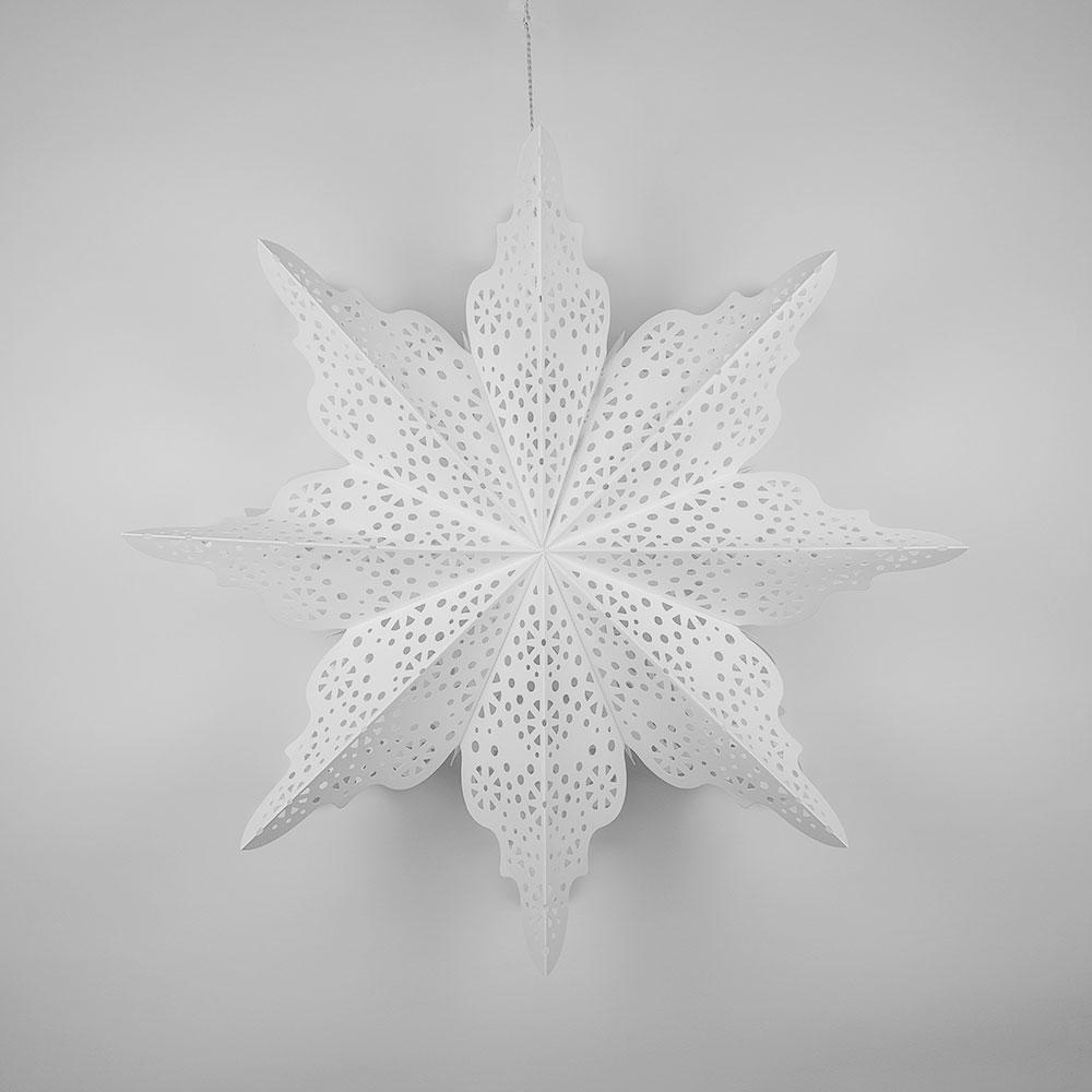 Pizzelle Paper Star Lantern (29-Inch, White, Holiday Moroccan Snowflake Design) - Great With or Without Lights - Holiday and Snowflake Decorations - Luna Bazaar | Boho & Vintage Style Decor
