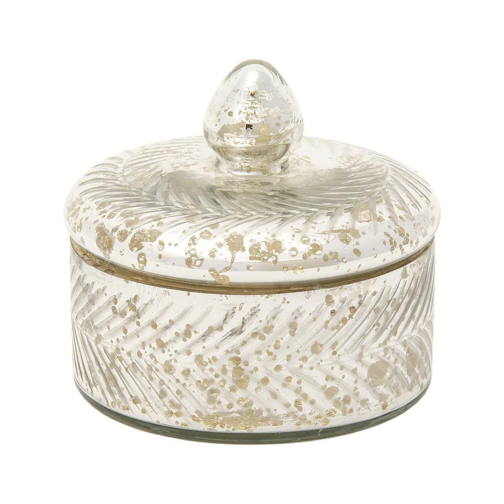 CLOSEOUT Vintage Mercury Glass Trinket Box (4.75-Inch, Silver, Etched Design) - Luna Bazaar | Boho & Vintage Style Decor