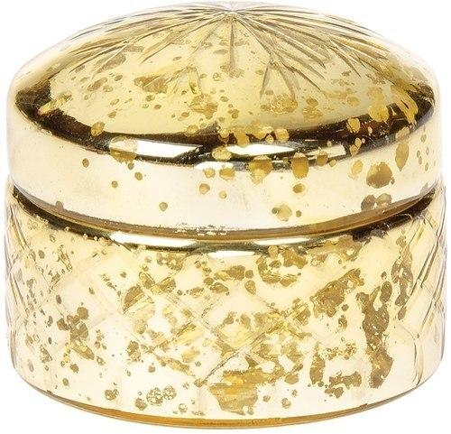 CLOSEOUT Vintage Mercury Glass Trinket Box (2.75-Inch, Gold, Round Design) - Luna Bazaar | Boho & Vintage Style Decor