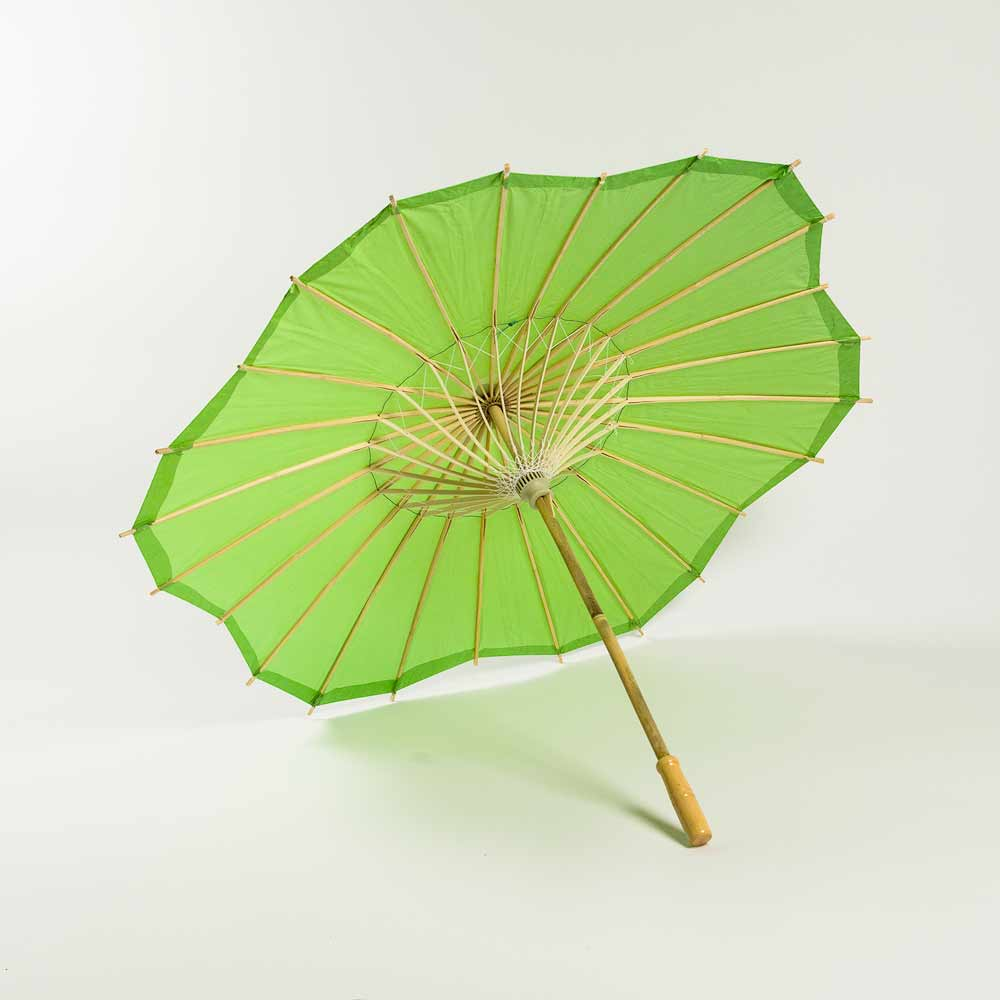 "32"" Grass Greenery Paper Parasol Umbrella, Scallop Shaped (Sun Protection) - Luna Bazaar 