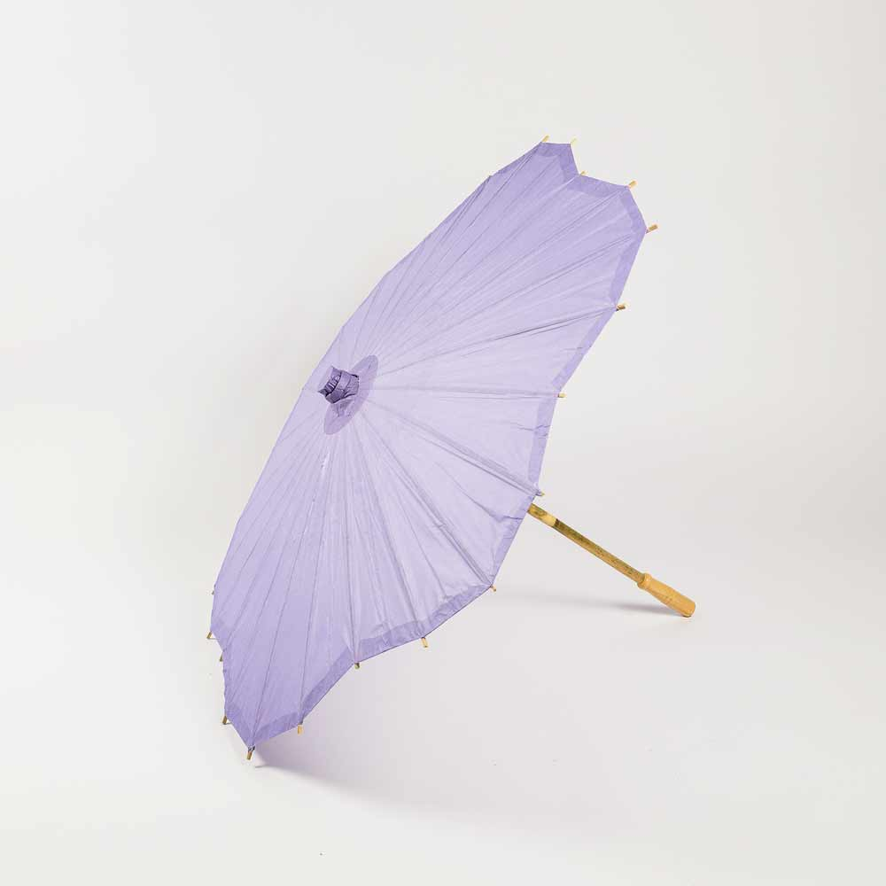 "32"" Lavender Paper Parasol Umbrella, Scallop Shaped (Sun Protection) - Luna Bazaar 