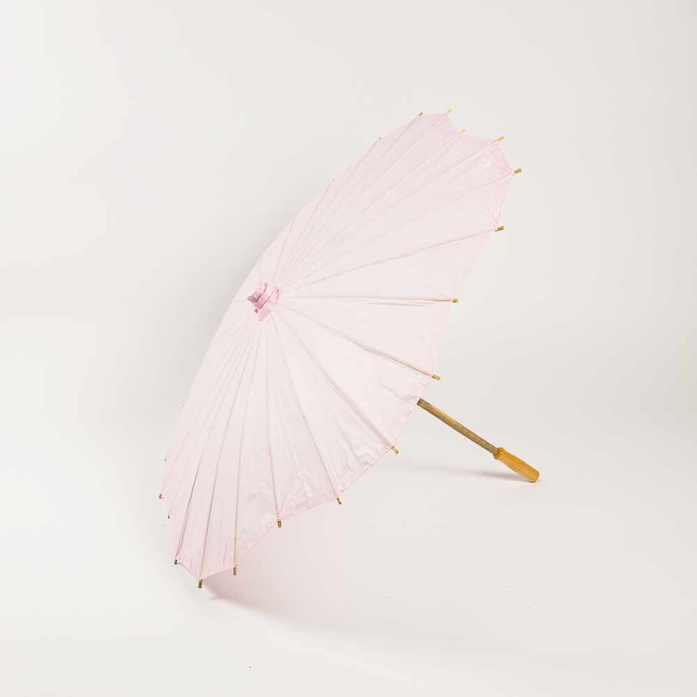 "32"" Pink Paper Parasol Umbrella, Scallop Shaped (Sun Protection) - Luna Bazaar 