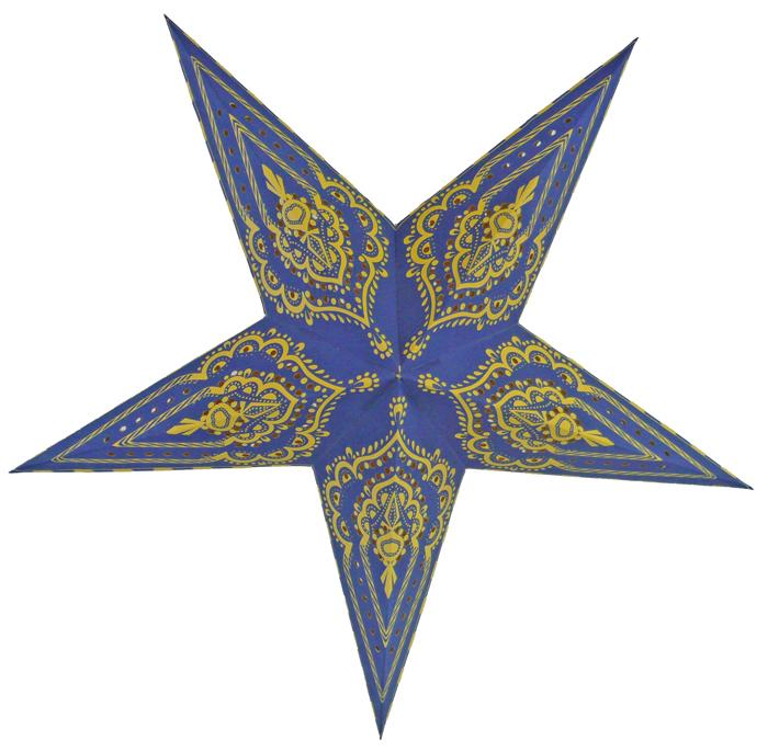 "24"" Blue on Yellow Mehandi Paper Star Lantern, Chinese Hanging Wedding & Party Decoration - Luna Bazaar 