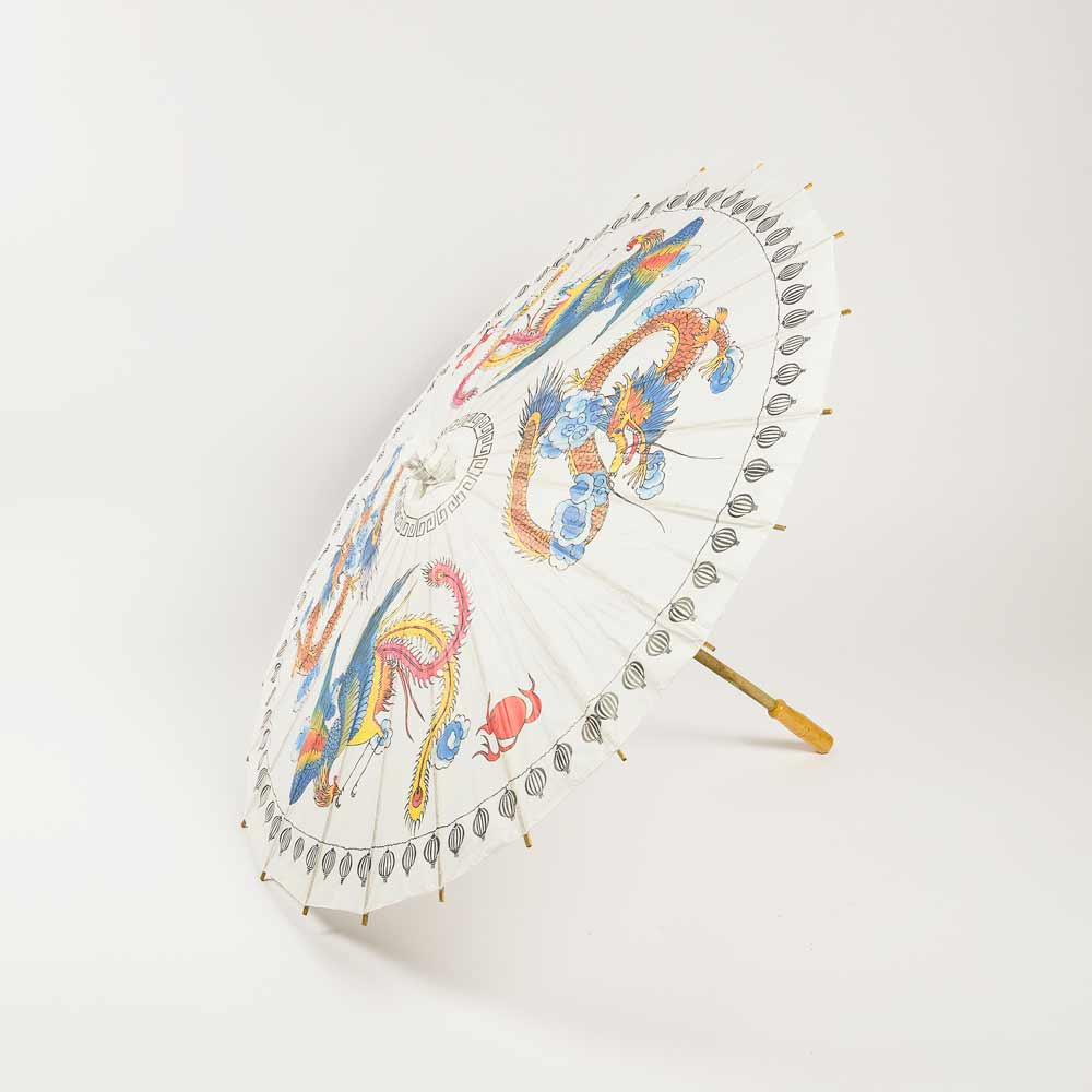 "32"" Dragon Paper Parasol Umbrella (Sun Protection) - Luna Bazaar 