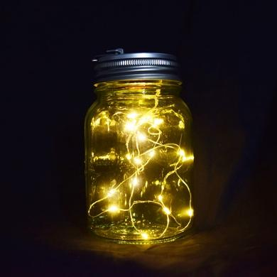 6-Pack Fantado Wide Mouth Lime Green Mason Jar Lights w/ Hanging Warm White Fairy LED Kit - Luna Bazaar | Boho & Vintage Style Decor