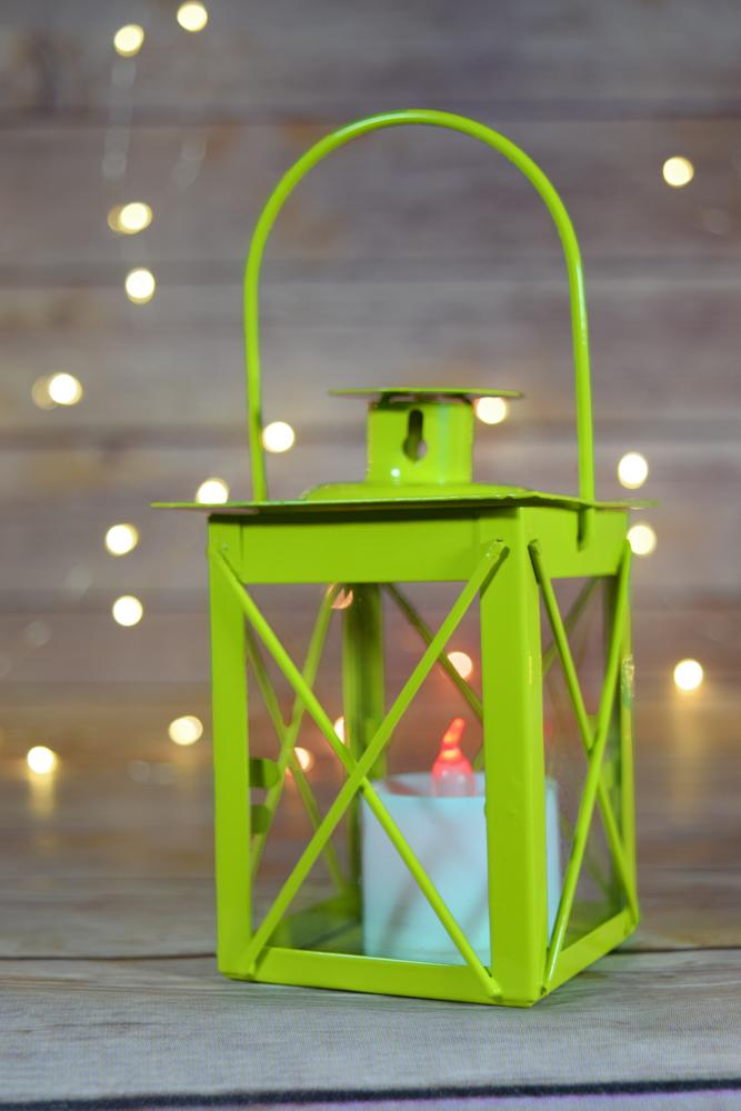 "CLOSEOUT 4.5"" Light Lime Square Hurricane Candle Lantern Tea Light Holder - Luna Bazaar 