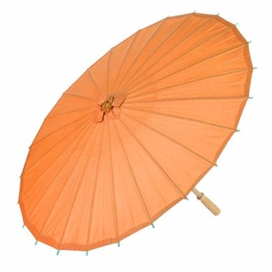 "10-Pack 32"" Orange Paper Parasol Umbrellas - Luna Bazaar 