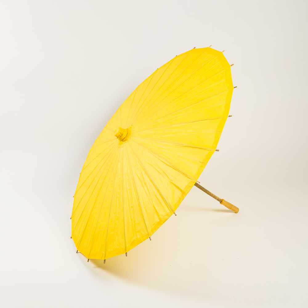 "20"" Yellow Paper Parasol Umbrella for Weddings and Parties - Great for Kids (Sun Protection) - Luna Bazaar 
