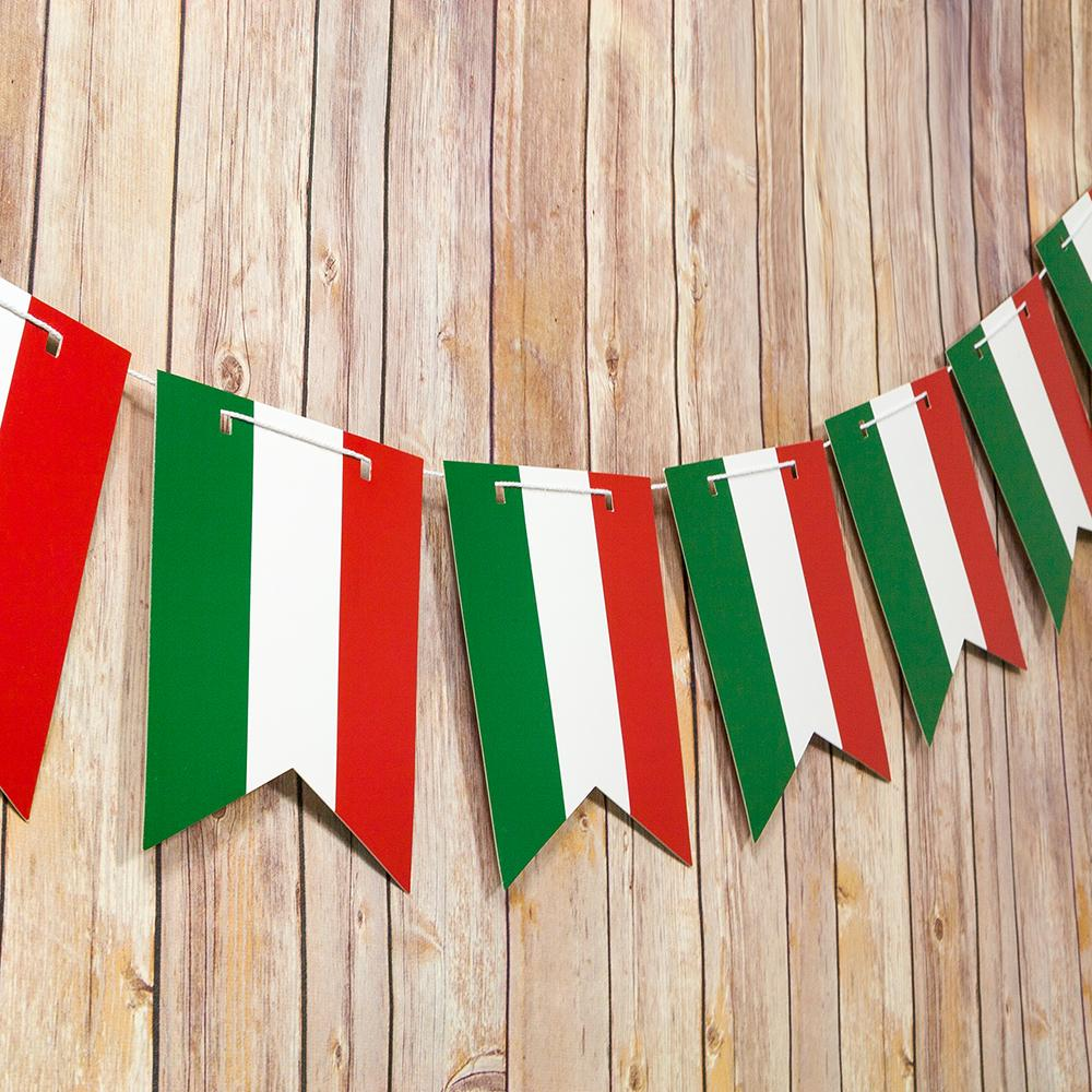 Italian Flag Italy Country Pattern Guidon Pennant Banner Garland (11FT) - Luna Bazaar - Discover. Decorate. Celebrate