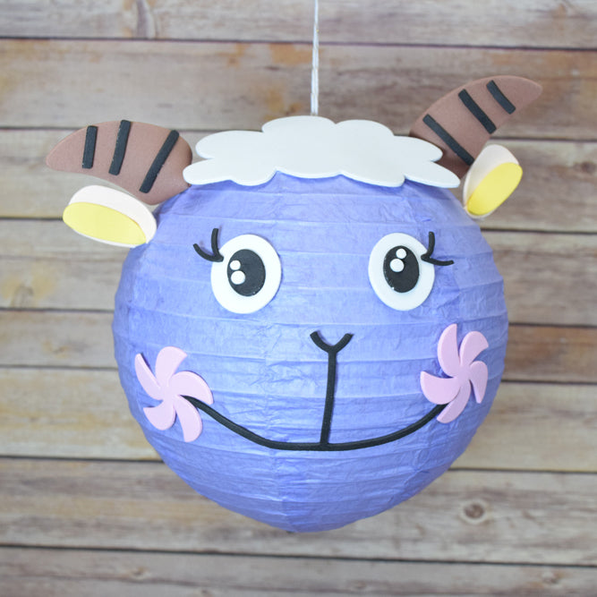 "8"" Paper Lantern Animal Face DIY Kit - Sheep / Lamb (Kid Craft Project) - Luna Bazaar - Discover. Decorate. Celebrate"