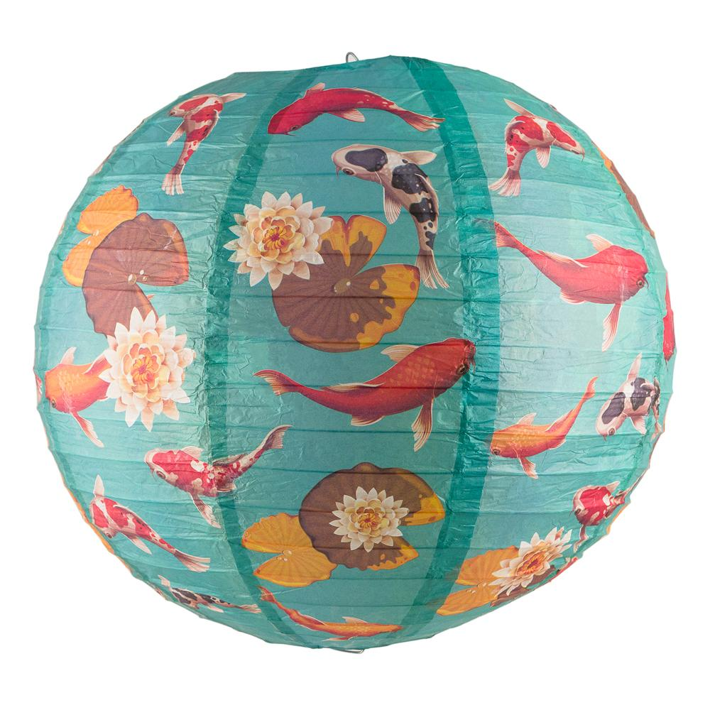 "14"" Japanese Koi Fish Pond Patterned Paper Lantern - Luna Bazaar 