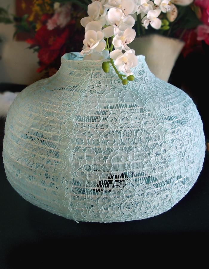 "CLOSEOUT 14"" Cool Mint Green Lace Fabric Psytker Bell Lantern - Luna Bazaar - Discover. Decorate. Celebrate"