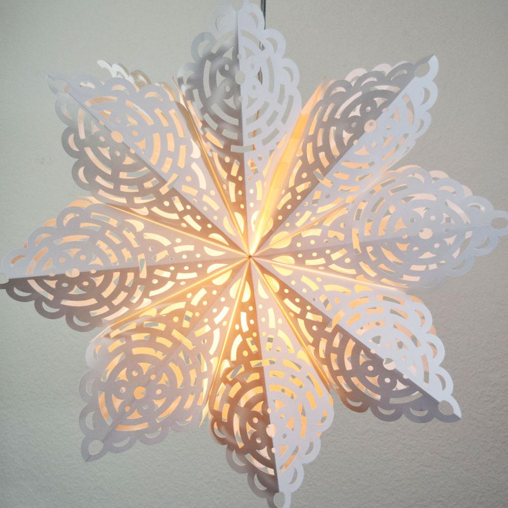 CLOSEOUT Quasimoon Pizzelle Paper Star Lantern (32-Inch, White, Winter Frost Snowflake Design) - Great With or Without Lights - Holiday Snowflake Decorations - Luna Bazaar | Boho & Vintage Style Decor