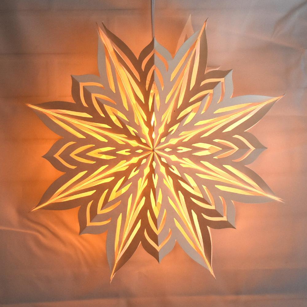 "(Discontinued) 30"" Large Winter Rune Star Lantern Snowflake Paper Hanging Decoration - Luna Bazaar 