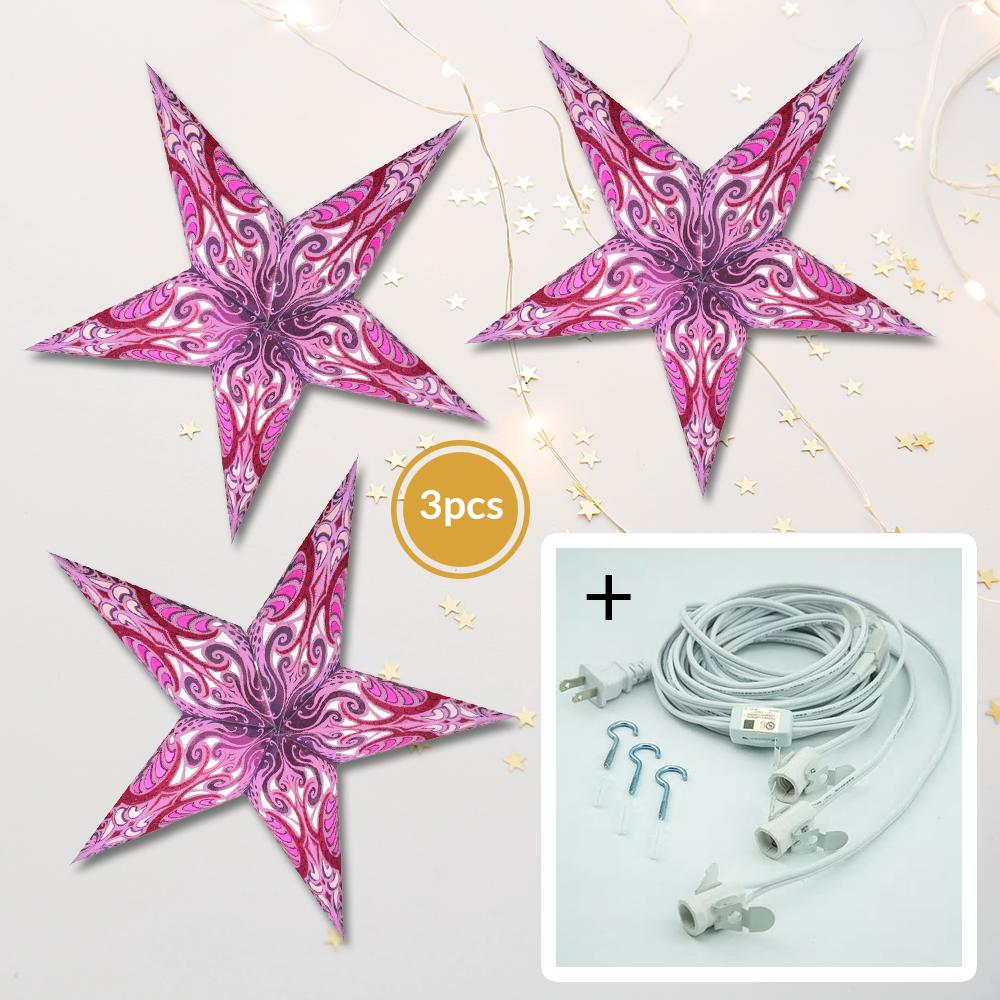 "3-Pack + Cord Orchid Purple Splash 24"" Illuminated Paper Star Lanterns and Lamp Cord Hanging Decorations - Luna Bazaar 