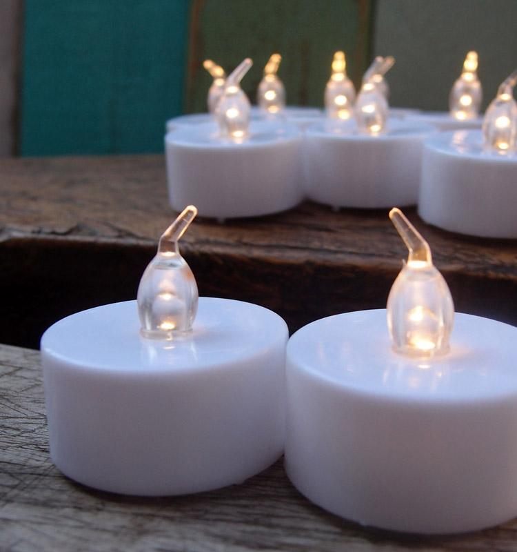 LED Battery Operated Flameless Tea Light Candles, perfect table Decoration for Weddings, Receptions, Holidays, Parties, restaurants or all occasions - Luna Bazaar | Boho & Vintage Style Decor