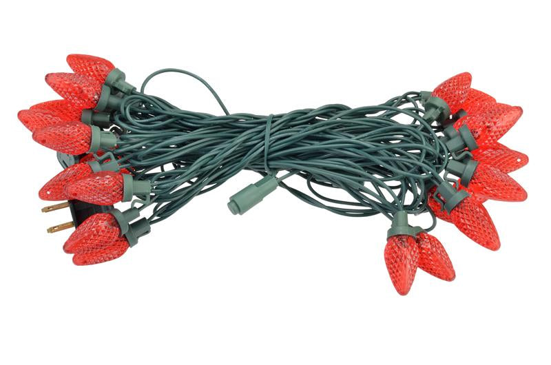CLOSEOUT 25 Outdoor Red LED C9 Strawberry String Lights, 16.6FT Green Cord, Weatherproof, Expandable - Luna Bazaar - Discover. Decorate. Celebrate