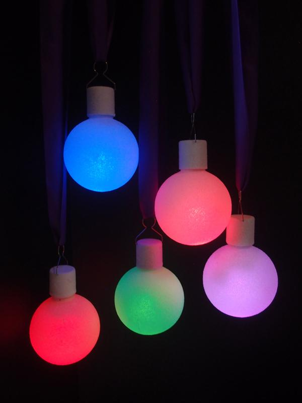 "CLOSEOUT 3"" Frosted LED Multi-Color Changing Remote Control Ornament Ball Light (Battery Operated, 5 PACK) - Luna Bazaar 