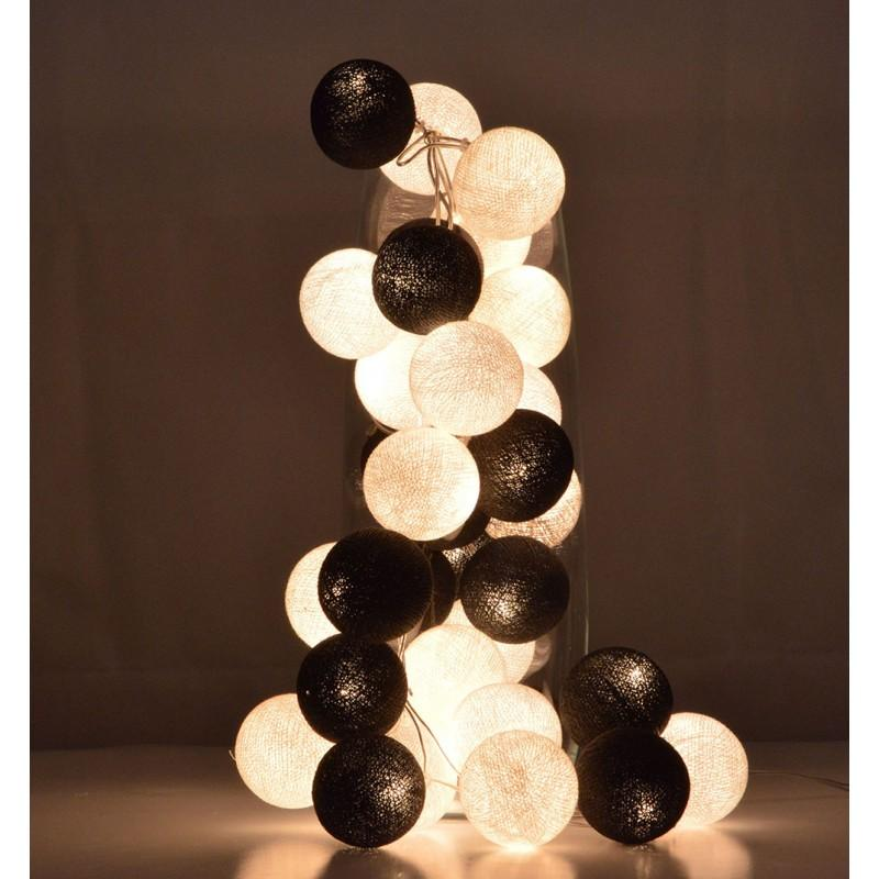 5.5 FT 10 LED Battery Operated Black & White Round Cotton Ball String Lights With Timer - Luna Bazaar | Boho & Vintage Style Decor