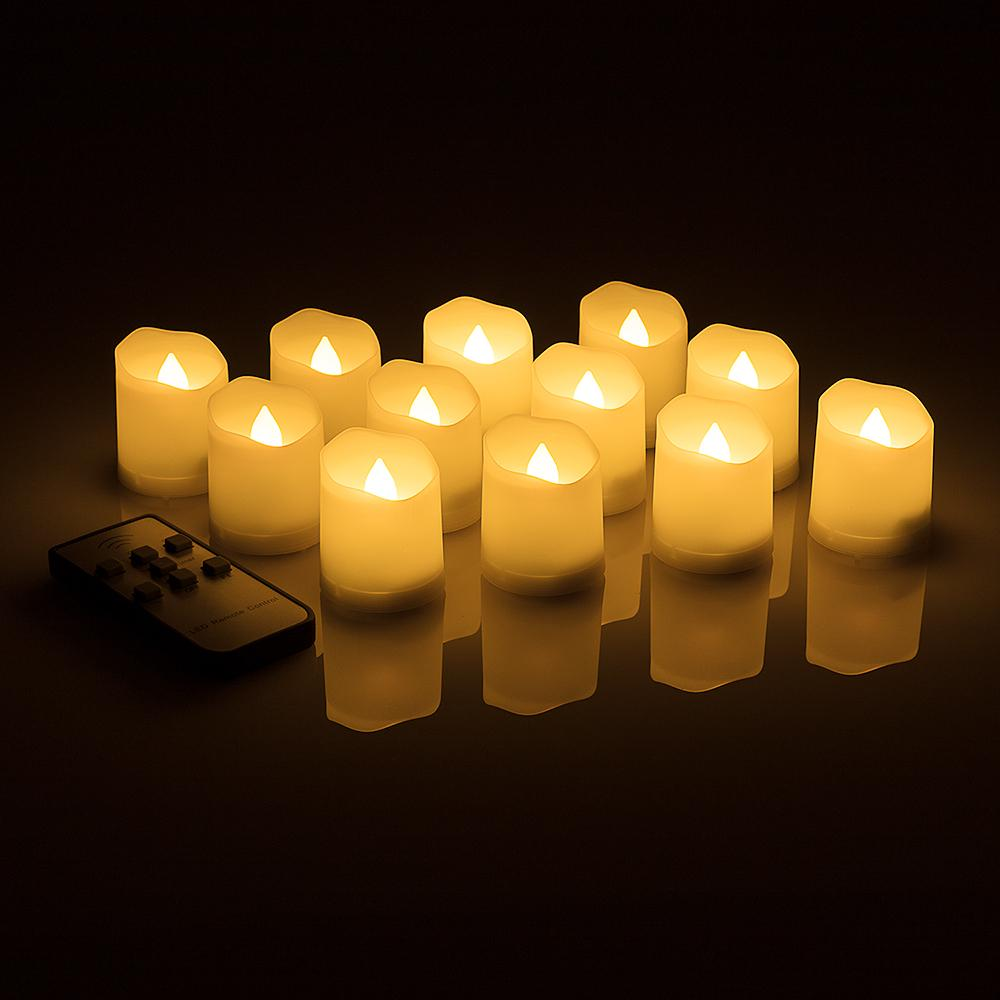 Long-Lasting Flameless LED Battery Operated Tea Lights w/ Remote Control, Timer, Dimmable, Weatherproof (12-Pack) - Luna Bazaar | Boho & Vintage Style Decor