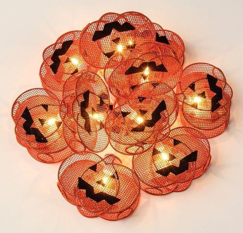 Limited Edition Jack O' Lantern String Lights - 9.5 Foot, 10 Metal Pumpkin Lights - Luna Bazaar | Boho & Vintage Style Decor