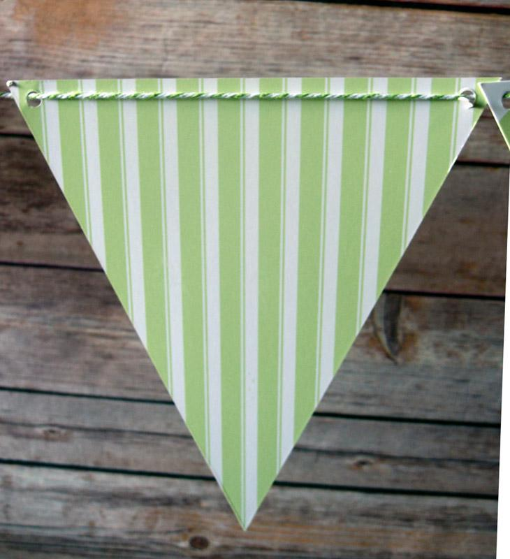 CLOSEOUT Light Lime Mix Pattern Triangle Flag Pennant Banner (11FT) - Luna Bazaar | Boho & Vintage Style Decor