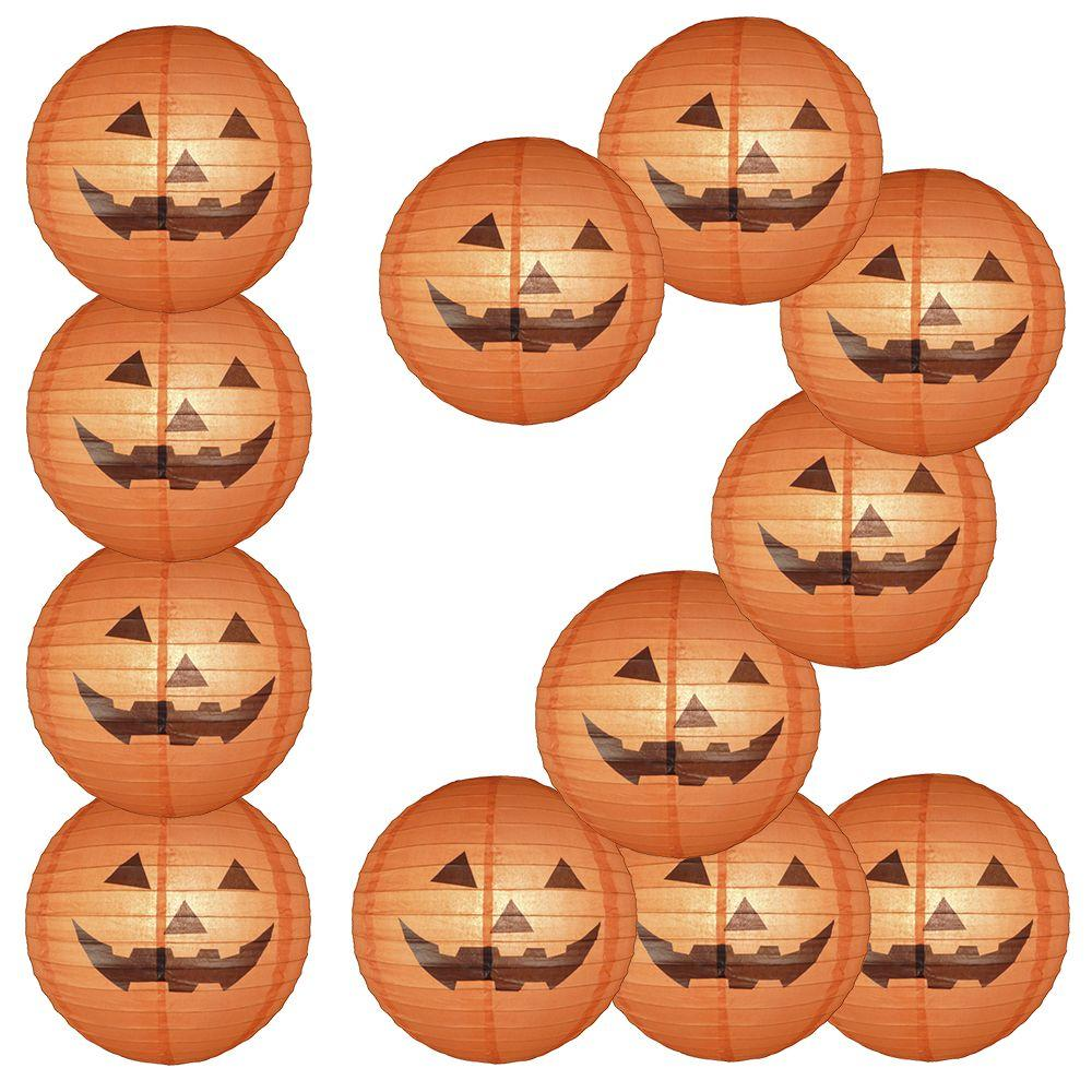 "12-Pack 16"" Happy Jack-O-Lantern Halloween Paper Lantern - Luna Bazaar - Discover. Decorate. Celebrate"