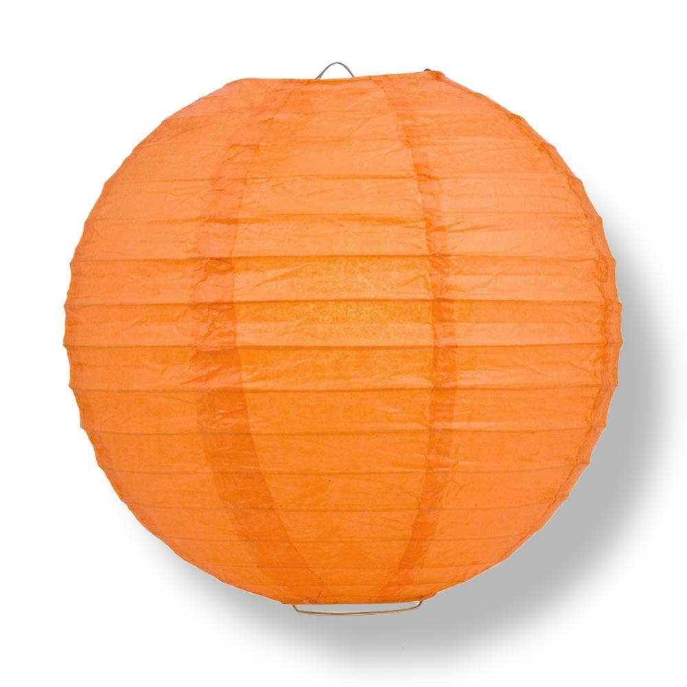 "12"" Persimmon Orange Parallel Ribbing Round Paper Lantern - Luna Bazaar 