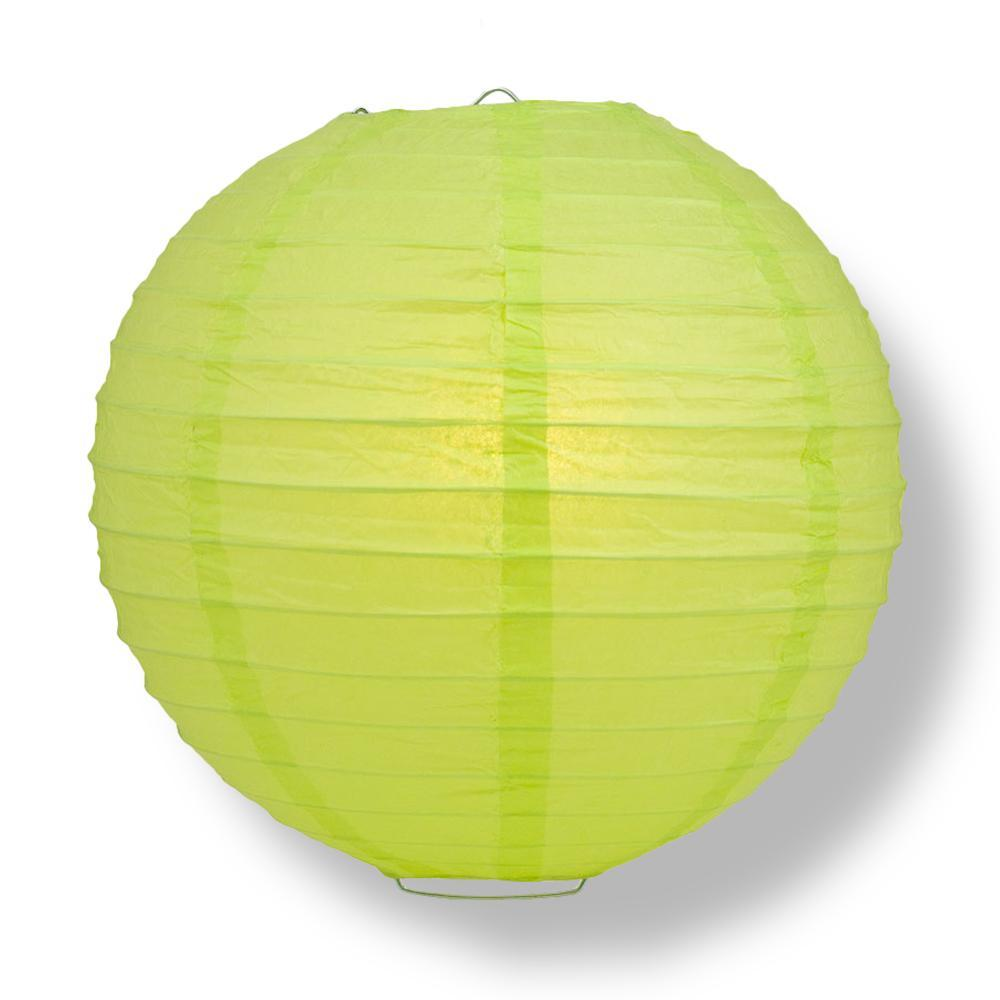 "24"" Light Lime Green Parallel Ribbing Round Paper Lantern - Luna Bazaar 