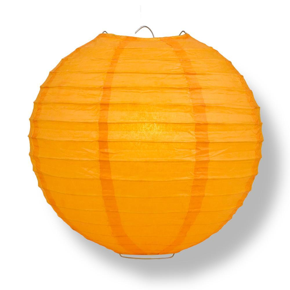 "12"" Orange Parallel Ribbing Round Paper Lantern - Luna Bazaar 